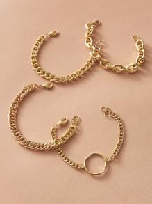 4pcs Ring Decor Chain Bracelet
