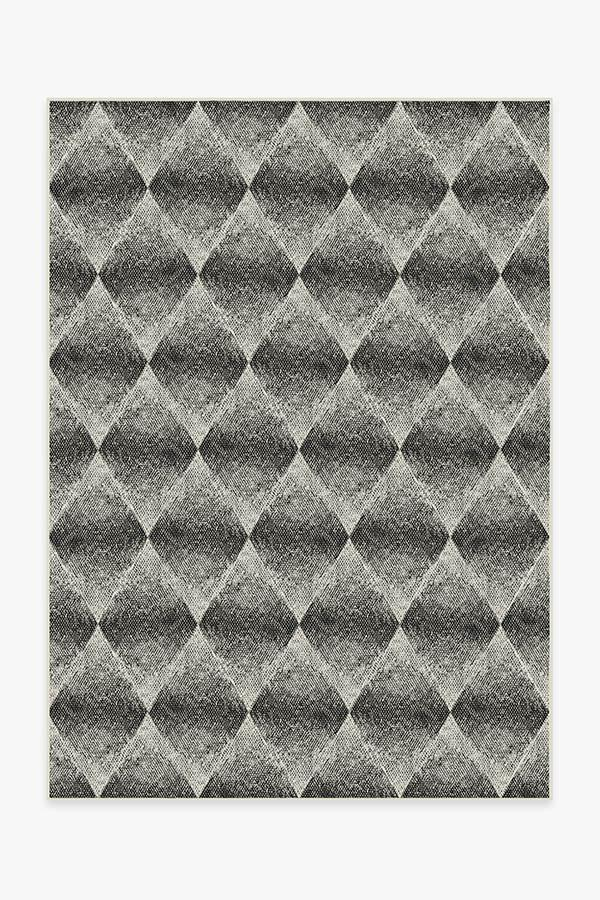 Washable Rug Cover | Outdoor Kumo Diamond Black Rug | Stain-Resistant | Ruggable | 5'x7'