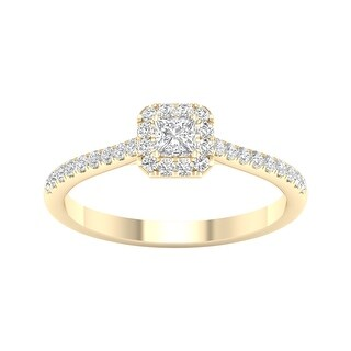 3/8ct TDW Princess Cut Diamond Halo Ring in 10k Gold by De Couer (7.5 - Yellow)
