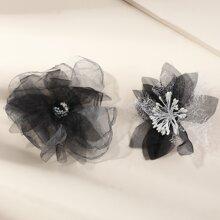 2 piezas horquilla de padres bebe con diseño de flor de malla