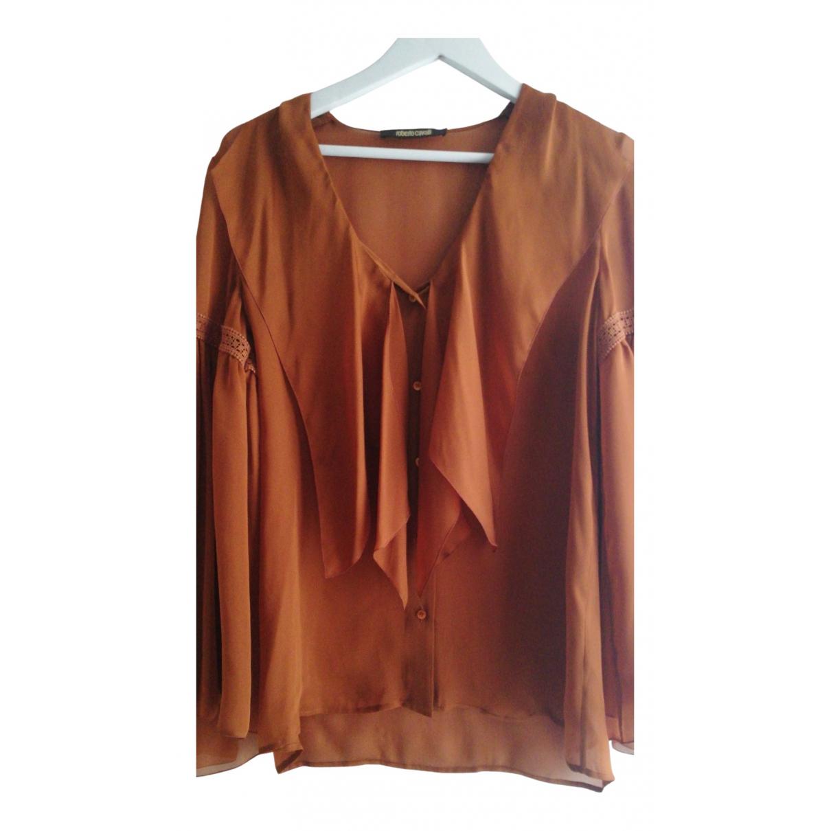 Roberto Cavalli N Camel Silk  top for Women 40 IT