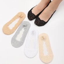 5pairs Solid Invisible Socks