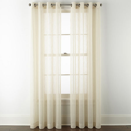 Linden Street Brooke Sheer Grommet-Top Single Curtain Panel, One Size , Beige