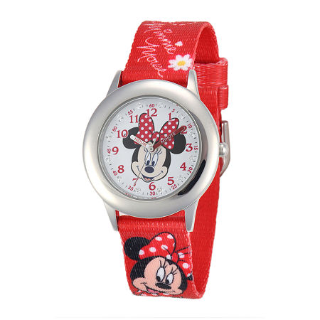 Disney Minnie Mouse Kids Time Teacher Crystal-Accent Red Nylon Strap Watch, One Size , No Color Family