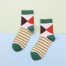 1pair Colorblock Striped Socks