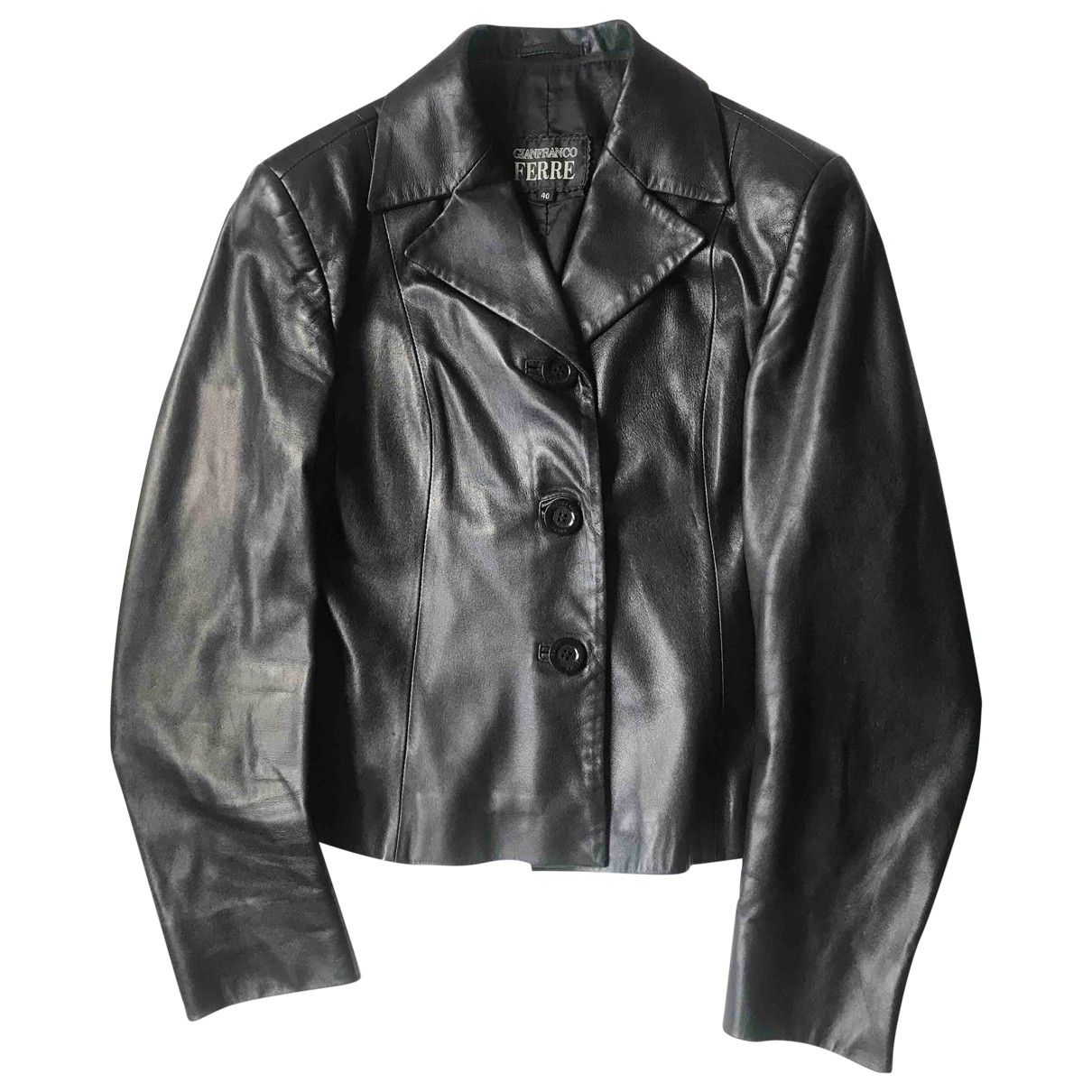 Gianfranco Ferré \N Black Leather jacket for Women 40 IT