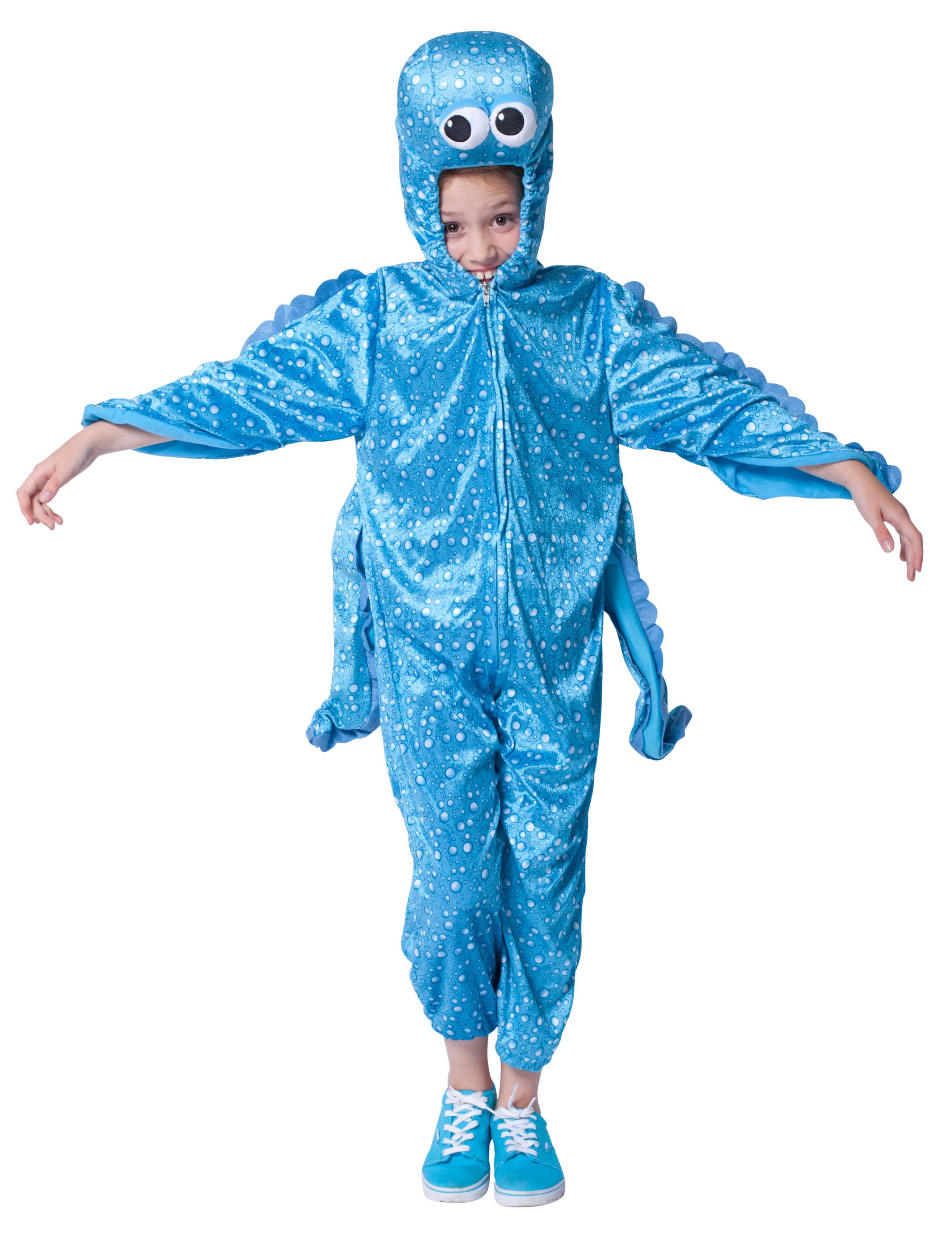 Kinder-Kostuem Overall Pluesch Tintenfisch blau Kinder  Grosse: 104