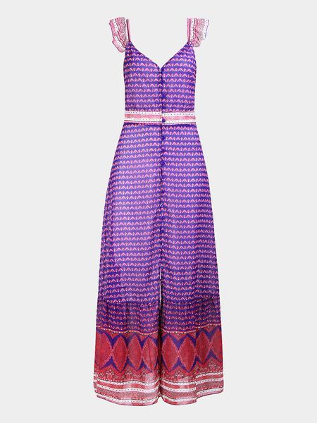 Yoins Boho Ruffles Details Split Random Print Pattern Maxi Dress