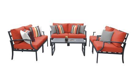 Lexington LEXINGTON-07e-TANGERINE 7-Piece Aluminum Patio Set 07e with 2 Left Arm Chairs  2 Right Arm Chairs  2 Club Chairs and 1 Coffee Table - Ash
