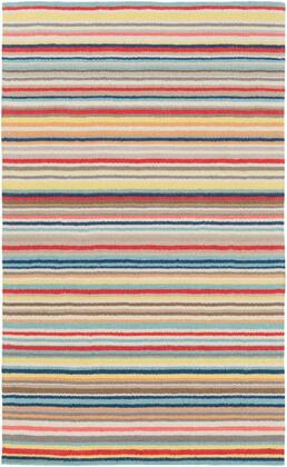 SHH5002-810 8' x 10' Rug  in Bright Red and Bright Yellow and Camel and Navy and Aqua and