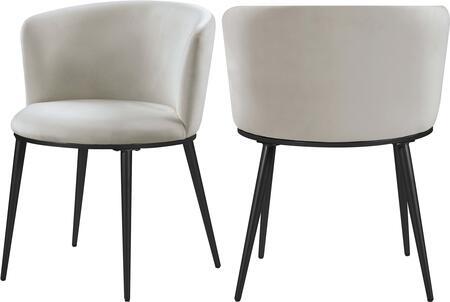 966CREAM-C Skylar Cream Velvet Dining Chair (Set of