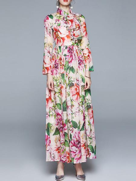Milanoo Vestido largo de gasa con cuello alto y estampado floral rosa de manga larga para mujer Vestido largo