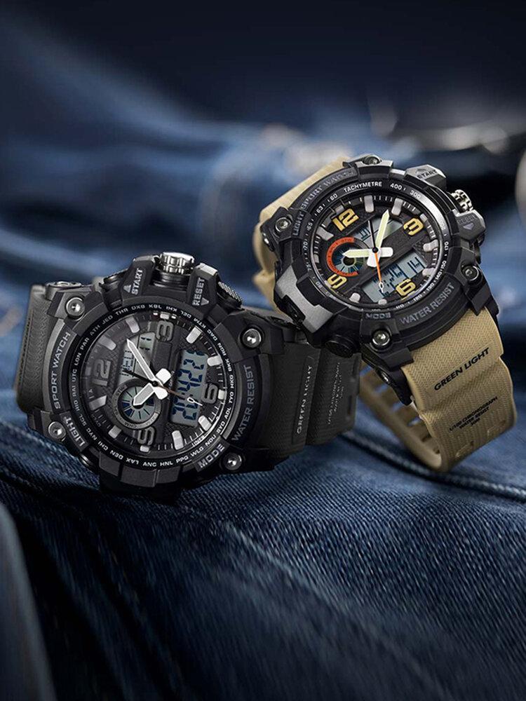 Luminous Display Calendar Alarm Clock Countdown 5ATM Waterproof Dual Display Digital Watch