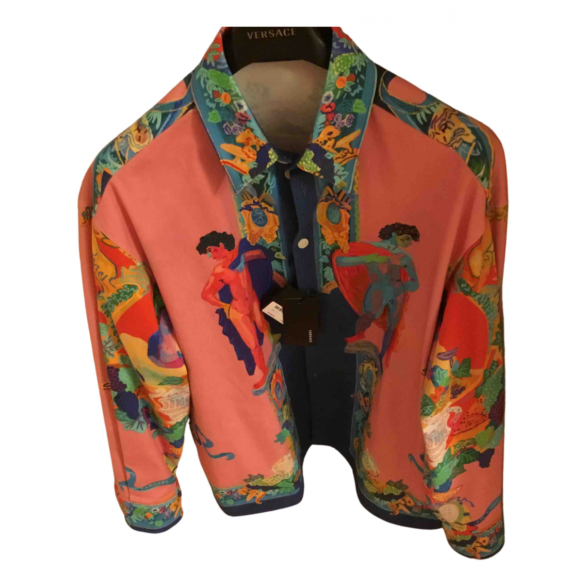 Versace \N Pink Cotton Shirts for Men 43 EU (tour de cou / collar)