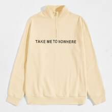 Men Zip Half Placket Slogan Graphic Pullover