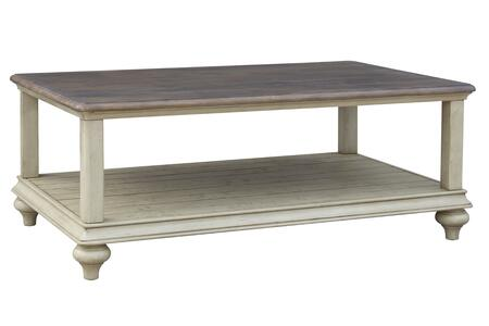 CF-2390-0490 Shades of Sand Cocktail Table - Storage Shelf  in Antique White and Natural