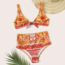 Tribal Knot Front High Waisted Bikini Swimsuit