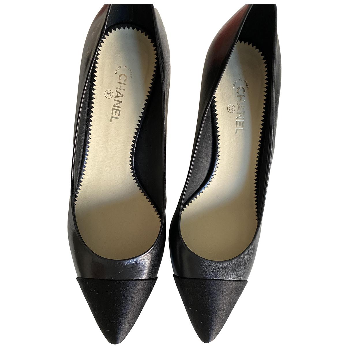 Chanel N Black Leather Heels for Women 38.5 EU