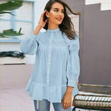 Hollow Out Button Up Blouse