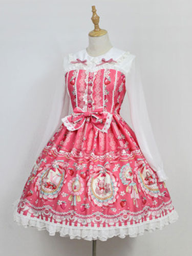 Milanoo Sweet Lolita OP One Piece Dress Neverland Turndown Collar Long Sleeve Bunny White Lolita Dress Original Design