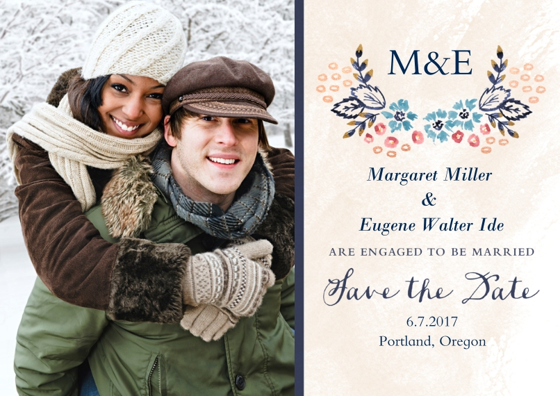 Save the Date 5x7 Cards, Premium Cardstock 120lb with Scalloped Corners, Card & Stationery -Nosegay