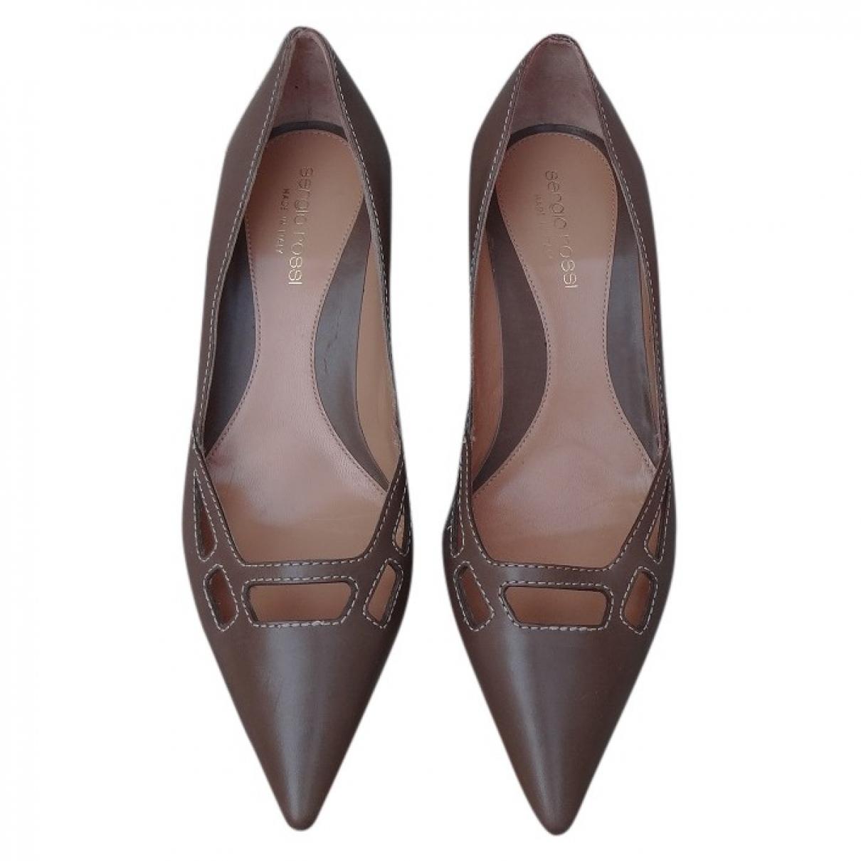 Sergio Rossi - Escarpins   pour femme en cuir - marron