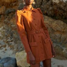 PU Leder Kleid mit einreihiger Knopfleiste, O-Ring und Guertel