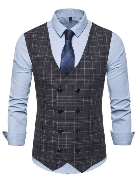 Milanoo Men Waistcoat Vest Plaid Double Breasted Buttons Prom Gilet Clubwear
