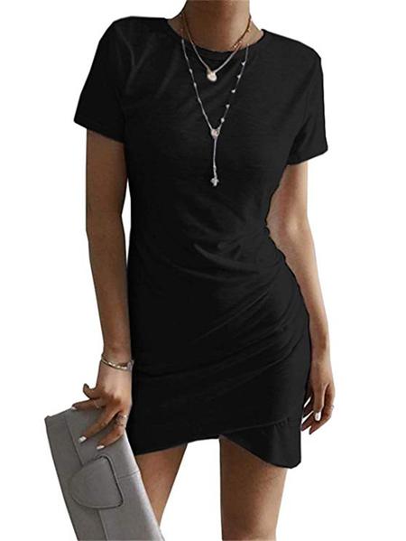 Yoins Black Round Neck Short Sleeves Pleated Dress