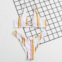 Striped Knot Detail High Cut Bikini Swimsuit