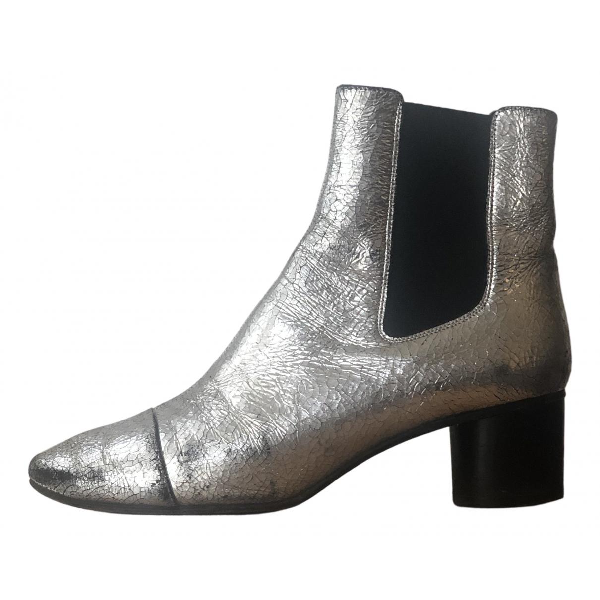 Isabel Marant - Boots Danae pour femme en cuir - argente