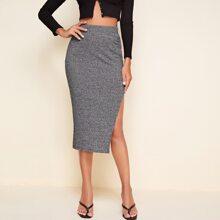 Split Thigh Rib-knit Pencil Skirt