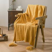 1pc Solid Tassel Knitted Blanket