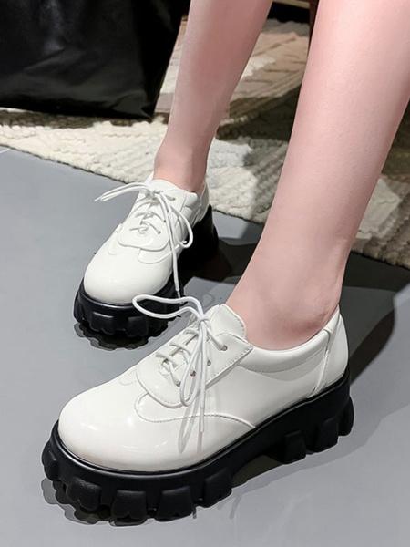 Milanoo Zapatos casuales con cordones de cuero de PU con punta redonda blanca Oxford de plataforma plana para mujer