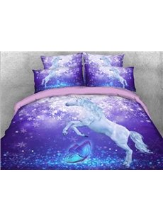 Vivilinen 3D Unicorn and Butterfly Printed 5-Piece Comforter Sets