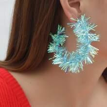 Christmas Colorful Ribbon Hoop Earrings