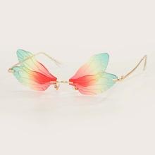 Maenner Randlose Sonnenbrille mit bunten Linsen