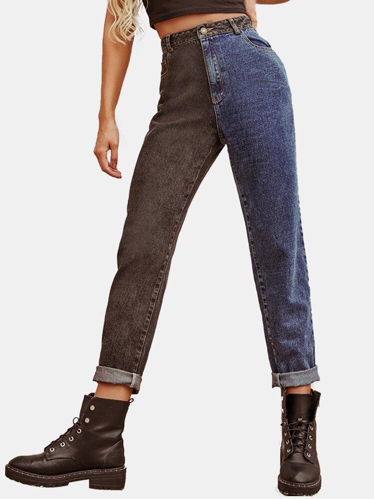 Patchwork Contrast Color Vintage High Rise Washed Denim Jeans