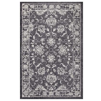 Kazia Collection R-1020A-58 Distressed Floral Lattice 5x8 Area Rug in Dark Grey and Ivory