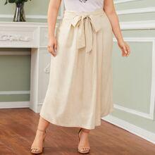 Pantalones cruzados de pierna ancha con cinturon - grande