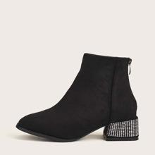 Rhinestone Decor Chunky Heeled Boots