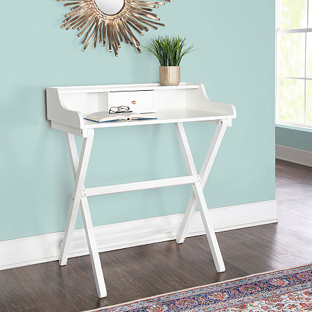 Coy Folding Desk, One Size , White