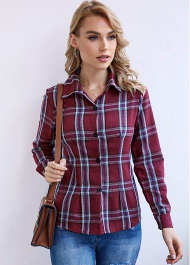 Button Up Plaid Turndown Collar Shirt - XL