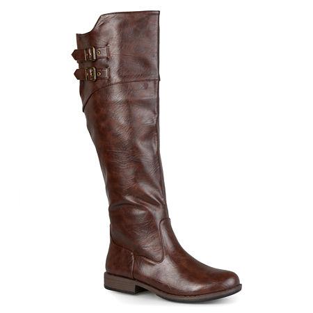 Journee Collection Womens Tori Wide Calf Knee-High Riding Boots, 9 1/2 Medium, Brown