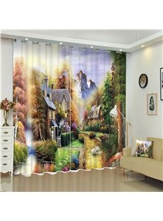 Castles in High Mountains Dreamlike Color Scenery 2 Pieces Bed Room Shading Curtain