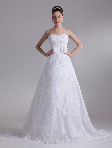 Milanoo White Brides Wedding Dress with Court Train