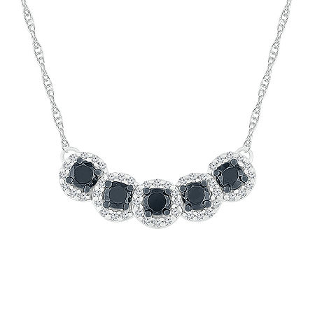 Womens 18 Inch 1/2 CT. T.W. Black Diamond Sterling Silver Link Necklace, One Size , No Color Family
