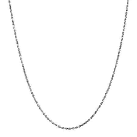 14K White Gold Solid Rope Chain Necklace, One Size , No Color Family