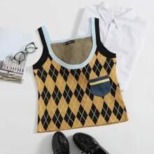 Strick Top mit Taschen vorn und Argyle Muster
