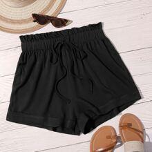 Einfarbige Shorts mit Knoten vorn und Papiertasche Taille